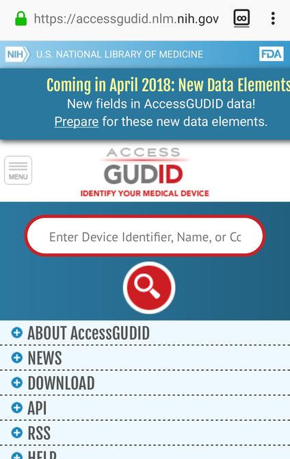 Screenshot der UDI Datenbank der US-FDA