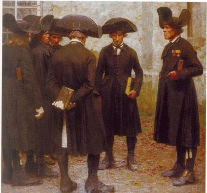 Männer vor der Kirche in Willingsausen v. Carl Bantzer
