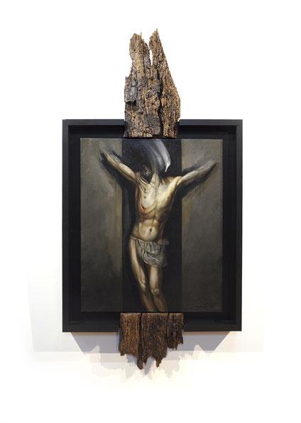 F.MARTIN© Crucifixion au bois - huile sur toile et montage composite 120x62