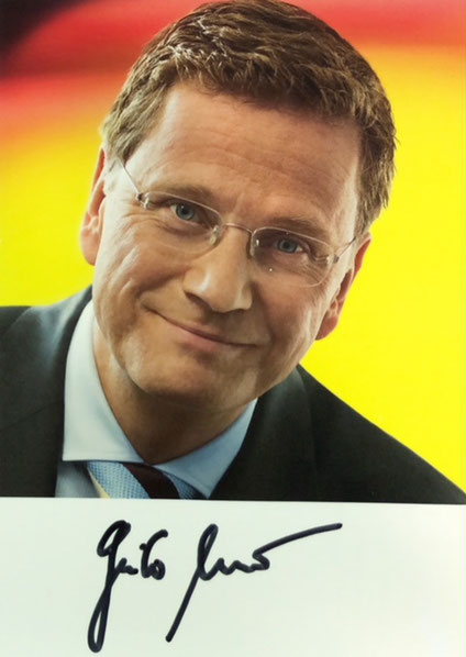 Guido Westerwelle, (1961-2016), Leader of the FDP Party, Minister of Foreign Affairs, Vice Chancellor, Autograph bought