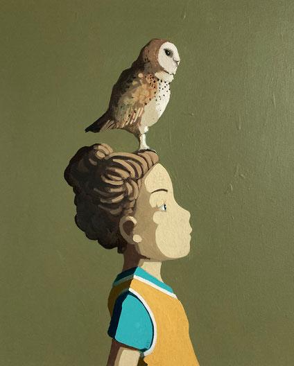 barn owl - Acryl auf Leinwand, 50x40cm, 2021 | verkauft