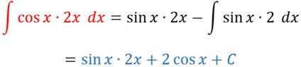 Einsetzen in die Formel der partiellen Integration und berechnen dieser