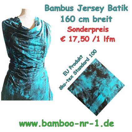 Bambus Jersey Batik schwarz-türkis, Sonderangebot €17,50/ 1 lfm
