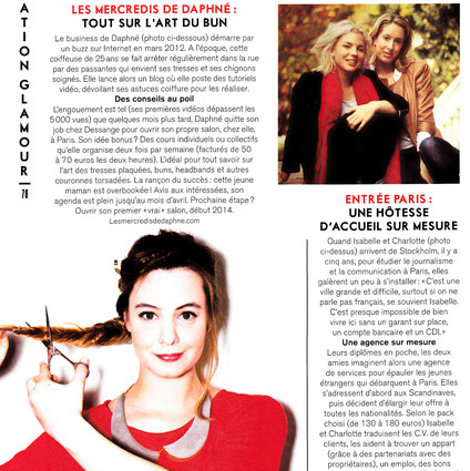 Daphné Narcy porte un col L'heured'été dans le magazine Glamour d'avril 2013