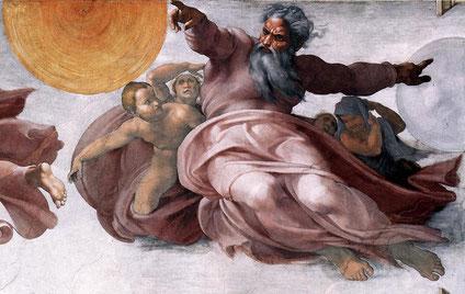 """Michel- Ange, """"Création du soleil, de la lune et des plantes"""", (1511), Vatican, Chapelle Sixtine (source : WGA)."""