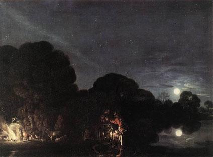 """Adam ELSHEIMER, """"La Fuite en Egypte"""", (1609), Munich, Alte Pinakothek (source : WGA)."""