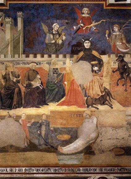 Ambrogio Lorenzetti, Allégorie du mauvais gouvernement, Palazzo Pubblico, Sienne, 1338-40 (source : wga)