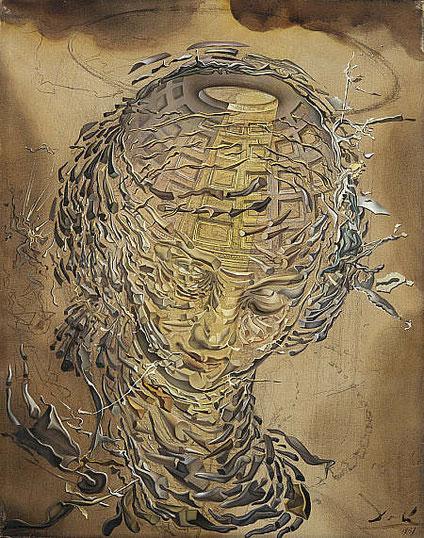 """Salvador Dali, """"Tête Raphaëlesque éclatée"""", 1951 (source : nationalgalleries.org)"""
