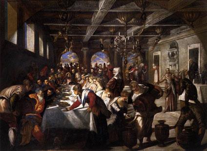 Le Tintoret, Les noces de Cana, 1561, Huile sur toile, 435 x 535 cm Santa Maria della Salute, Venise