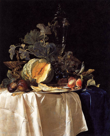 """Willem van Aelst, """"Nature-morte aux fruits"""", 1652, Galleria Palatina (Palazzo Pitti), Florence (source ; Web Gallery of Art)"""