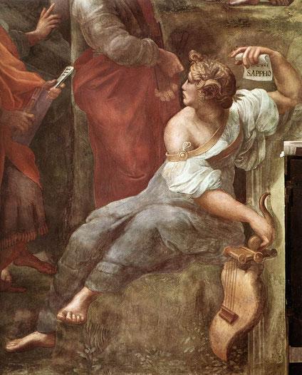 Raphaël, Sappho (détail du Parnasse), Vatican, Chambres de la Signature, 1509-1510 (source : wga)