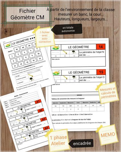 MHM Méthode heuristique Maths Mathématiques cycle2 cycle3 CE2 CM1 Géomètre mini-fichier mesures de longueur