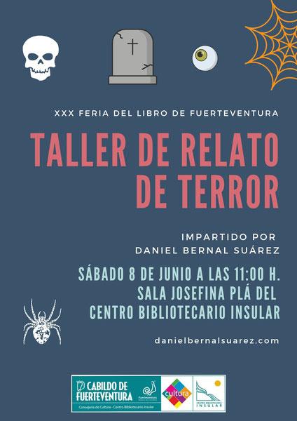 Taller de relato de terror impartido por Daniel Bernal Suárez en la Feria del Libro de Fuerteventura
