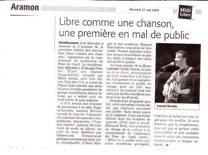 Laurent Reverte 19 mai 2009 1er prix compositeur interprète festival libre comme une chanson gard