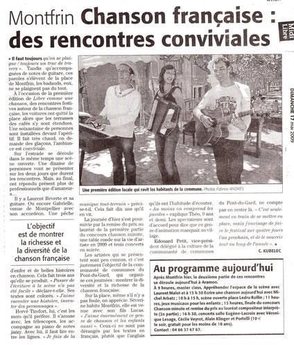Laurent Reverte 18 mai 2009 festival libre comme une chanson gard