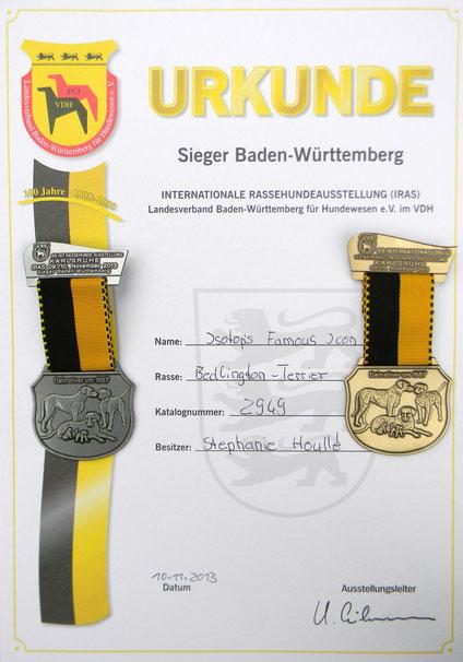 """Diplôme et médailles pour Tsarine : CAC VDH & KfT, CACIB, BOB / meilleure de race, """"Sieger Baden-Württemberg""""."""