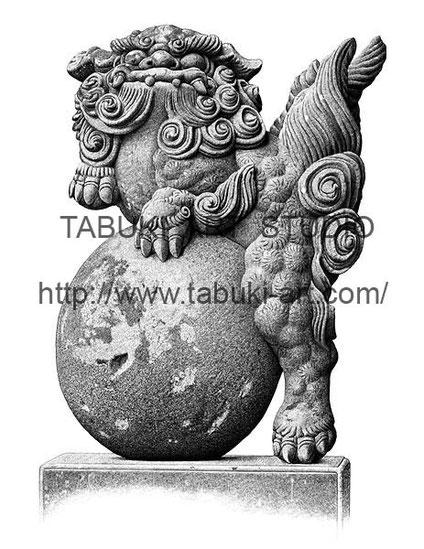富来神社の唐獅子像 運玉 デジタル作品 絵