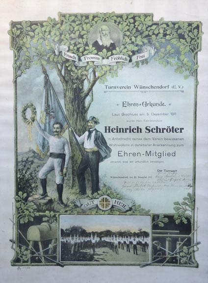 Bild: Teichler Wünschendorf Erzgebirge Ehrenurkunde Heinrich Schröter
