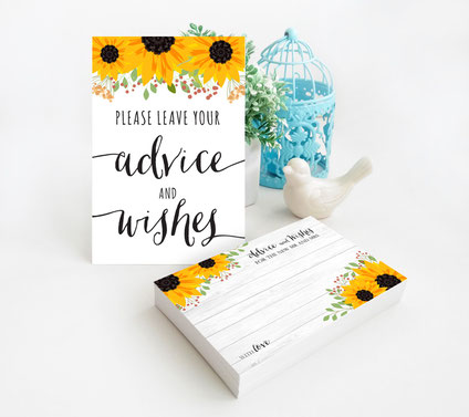 Sunflower Wedding Advice Cards