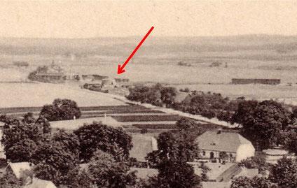 Bis auf das untere Stockwerk abgetragene Mühle, 1911.