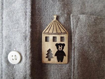 くまちゃんの家 Toy house and teddy bear /ペンダントトップ Pendant Jewelry