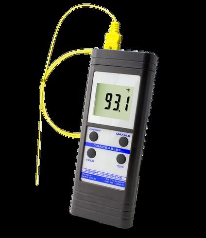 Termómetro digital para altas temperaturas con sonda tipo K y certificado trazable a NIST 4004