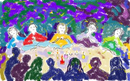 3a passeggiata - Meditazione, una manciata di fiori - disegno di Wilma Camatti