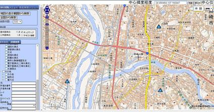 岡崎公園周辺の三角点分布図