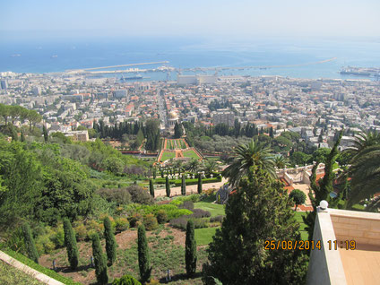 The view of the Baha'i Gardens' from Mt. Carmel in Haifa