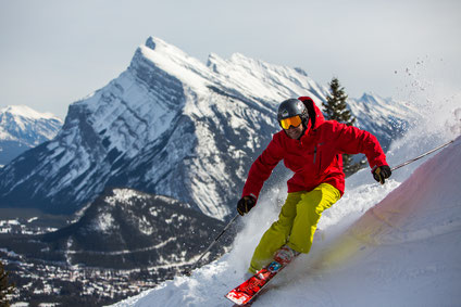 Man skiing at Mt. Norquay in Banff National Park Alberta