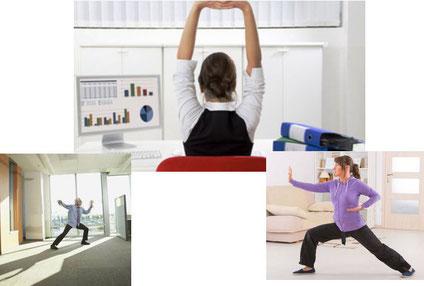 Esercizi di Tai chi in ufficio, pausa pranzo pause, break.