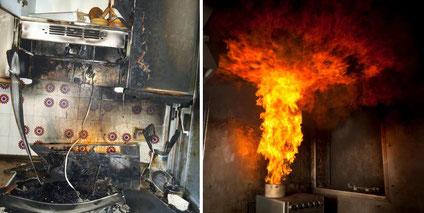 Incendio en cocina y reacción del fuego al echar agua
