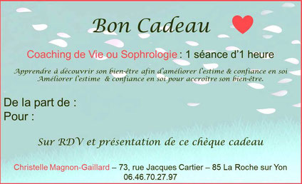 Carte Cadeau, Bon Cadeau Coaching Vendée