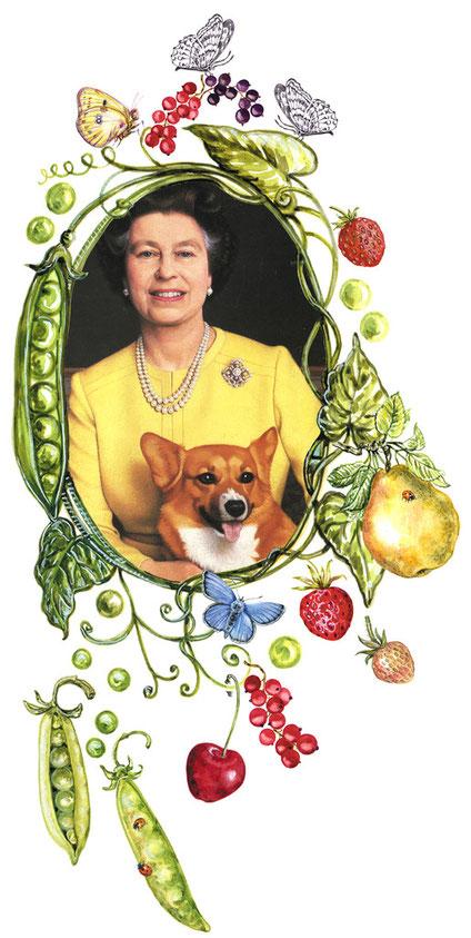 Queen Elizabeth II. im floralen Schmuckmedaillon zu ihrem 90. Geburtstag © Caroline Ronnefeldt