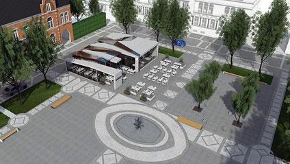 """So präsentiert sich der zukünftige """"Kupferpavillon"""" auf dem Kaiserplatz aus der Vogelperspektive. Foto: Entwurf. P. Hansen"""