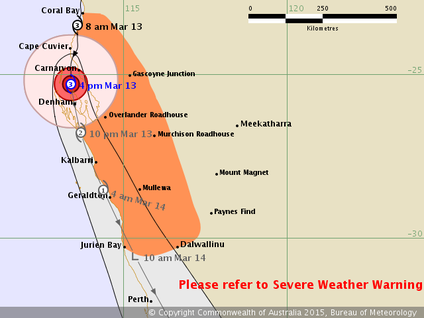 Forecast track of a Tropical low of the north west coast of Australia. Image and text from www.bom.gov.au