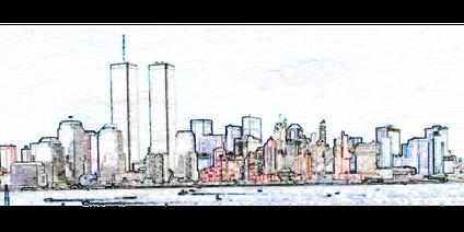 Twin Towers in New York - Skyline von Manhattan