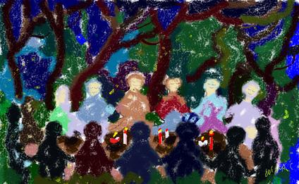 1a passeggiata - Insieme nel bosco magico - disegno di Wilma Camatti