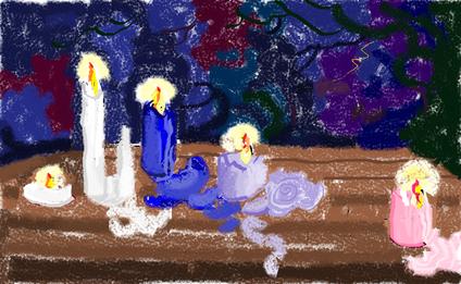 7a passeggiata - Sculture di cera - disegno di Wilma Camatti