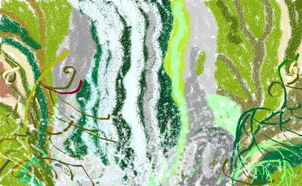 6a passeggiata -  La cascata del bosco disegno di Wilma Camatti