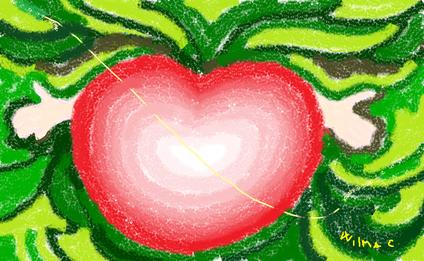 5a passeggiata - Abbraccio d'Amore disegno di Wilma Camatti