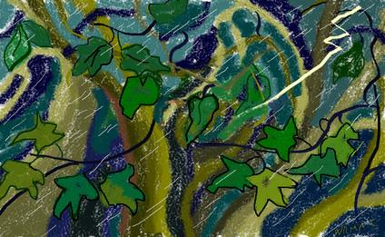 5a passeggiata - Temporale nel bosco disegno di Wilma Camatti