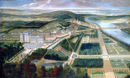 das Châteu de Saint-Cloud in Paris, Wohnsitz des französischen Königs Henri III. Das Schloss brannte im deutsch-französischen Krieg 1870 ab und wurde bald darauf abgebrochen.