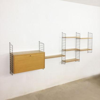 nisse strinning string design ab danish modern wall unit vintage 1960s ash wood eschew teak interior 60er 70er mabel furniture sweden swedish midmid midcentury  string regal