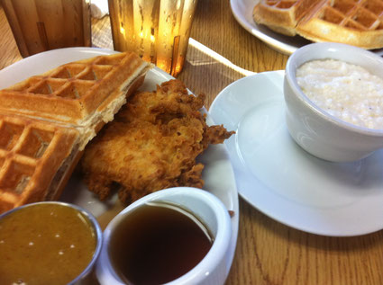 That's a HALF portion of Chicken & Waffles and a side of girts because... you know... Southern!
