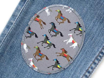 Bild: Knieflicken Pferde Bügelflicken für Mädchen im Set
