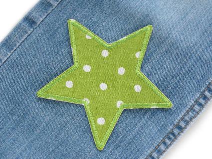 Bild: Stern Pünktchen Bügelflicken, grüner Stern Hosenflicken für Kinder
