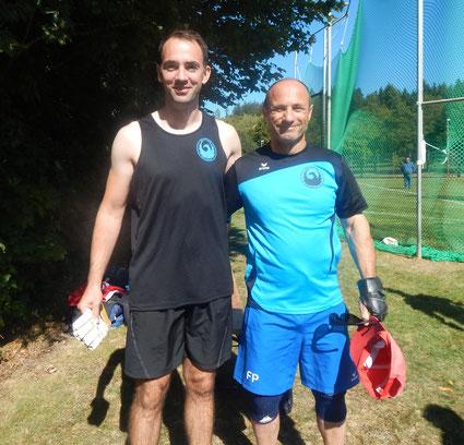 Andreas Schäfer (links) und Franz Pauly nach dem Gewichtwerfen.