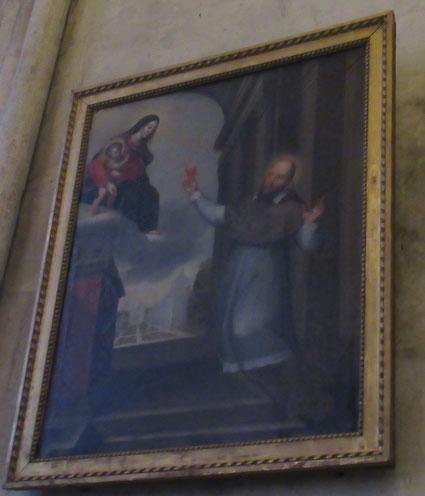 St François de Sales offrant son cœur à la Vierge et à Jésus - Anonyme du XVIIIe siècle- Actuellement dans la chapelle Ste Croix