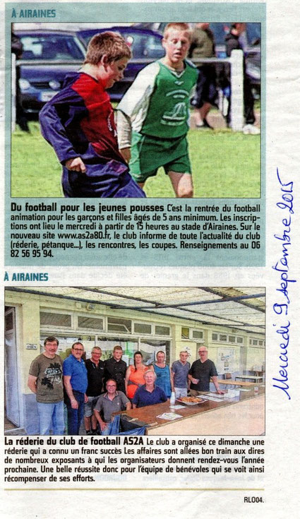 Article du Courrier Picard du mercredi 9 septembre 2015